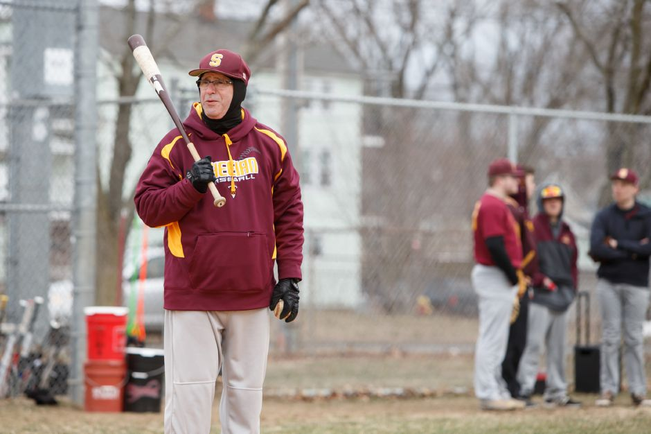 The Sheehan baseball team's 6-3 win over Lewis Mills on Thursday ensures that veteran head coach Matt Altieri's career won't come to a cold finish. With the victory, the Titans secured a berth in the Class M state tournament. | Justin Weekes / Special to the Record-Journal