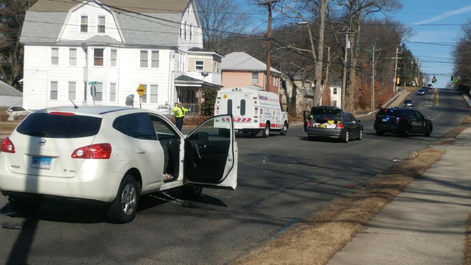 Emergency crews responded to a two-car crash on Broad Street in Meriden Tuesday morning. | Devin Leith-Yessian, Record-Journal