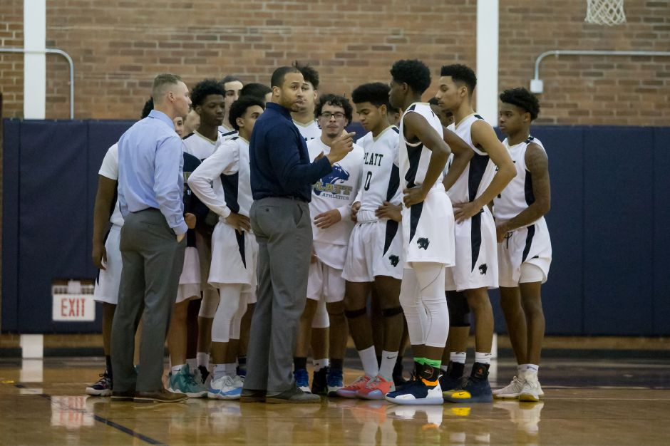 The Platt boys basketball team will have to wait another day to start state tournament action. The Panthers will open up Division IV action on Tuesday at 7 p.m. at Griswold. | Justin Weekes / Special to the Record-Journal