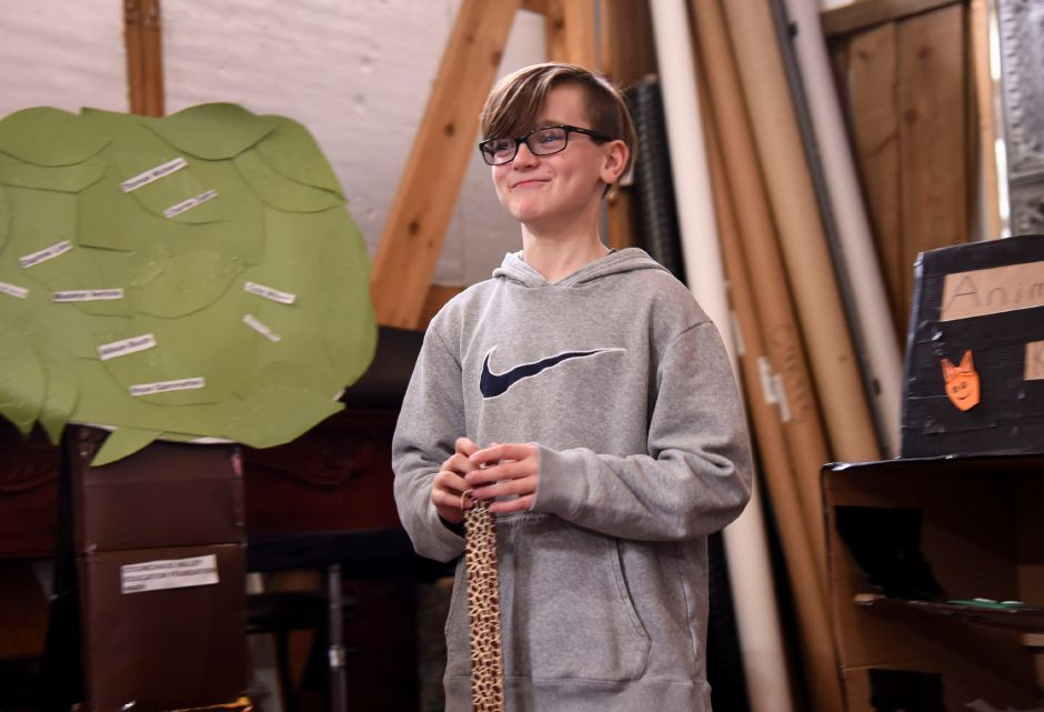 Fifth-grader Cole Wilson, of Middlefield, does a skit run through with his Odyssey of the Mind team during a practice on April 30, 2019 in Middlefield. The team will compete in the Odyssey of the Mind world competition in Michigan later this month. | Bailey Wright, Record-Journal