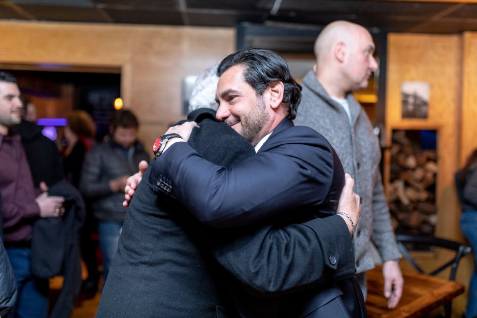Republican Gennaro Bizzarro, right, celebrates with supporters after declaring victory in the special election for the 6th State Senate District. Bizzarro defeated Democratic State Rep. Rick Lopes. | Devin Leith-Yessian/Record-Journal