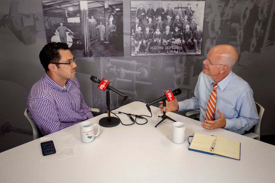 Democrat Kevin Lembo talks with Record-Journal editor Mike Savino about running for re-election as comptroller, Sept. 19, 2018. | Richie Rathsack, Record-Journal
