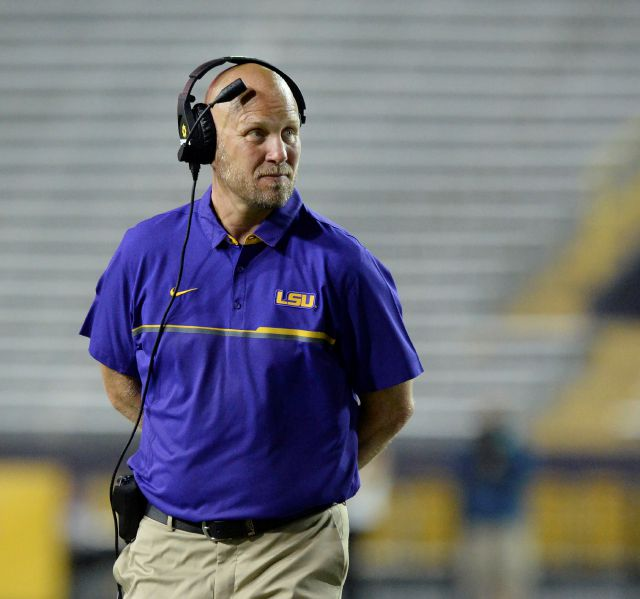 FILE - In this April 22, 2017, file photo, then-LSU offensive coordinator Matt Canada coaches in the first half of the NCAA college football team