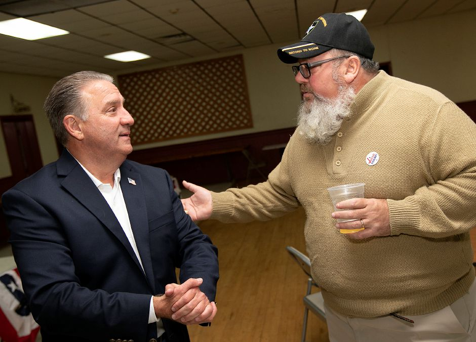City Councilor Bob Williams, left, talks with David Fordiani on Election Night at the Republican Headquarters at the North Italian Home Club in Meriden, Tues., Nov. 5, 2019. Dave Zajac, Record-Journal