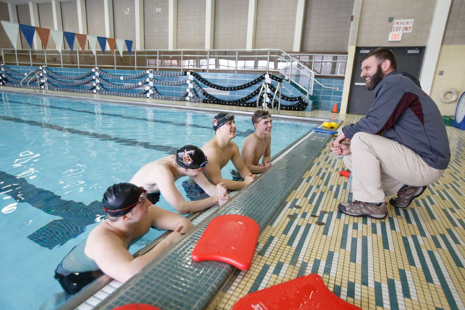 Coach Keith Cargan and his Sheehan Titans are on the verge of winning a second straight SCC Division II title after beating Branford/Guilford and North Haven on successive days. To raise the flag, the Titans will have to beat rival Lyman Hall/Coginchaug next Wednesday in the annual Wallingford meet. | Justin Weekes / Special to the Record-Journal