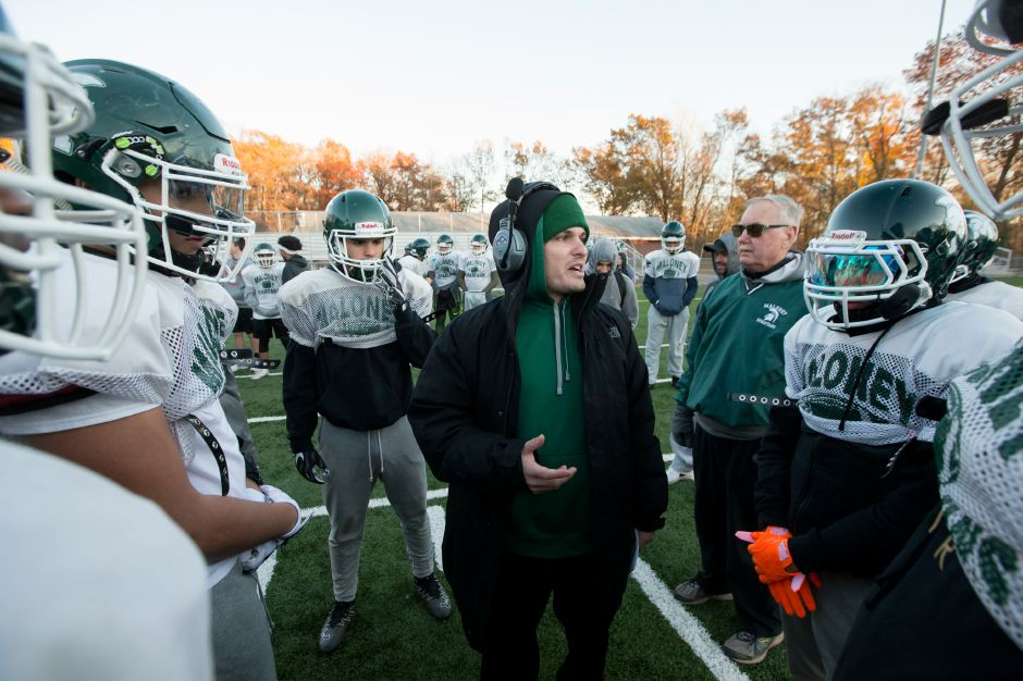 Maloney football coach Kevin Frederick, who had to sit out Friday's loss at Bristol Central, will be back on the sideline for next Friday's game against Wethersfield at Falcon Field.  | Justin Weekes / For the Record-Journal