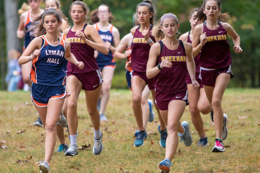 Lyman Hall's Olivia Weir, left, and Sheehan's Lizzie Brown lead the pack during the start of the girls race in Tuesday's Wallingford cross country meet at Wharton Brook State Park. Brown won the Sheehan-Lyman Hall meet for a third time, crossing in 20:23. Weir finished third.
