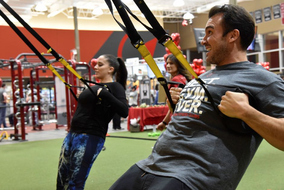 Matt Munson works out with Noel Tufano.  Bailey Wright, Record-Journal