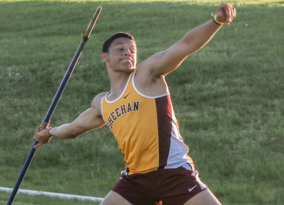 Sheehan junior Jordan Davis won the State Open championship in the javelin Monday with a throw of 203-1 at Veterans Stadium in New Britain. | Spencer Davis, Record Journal