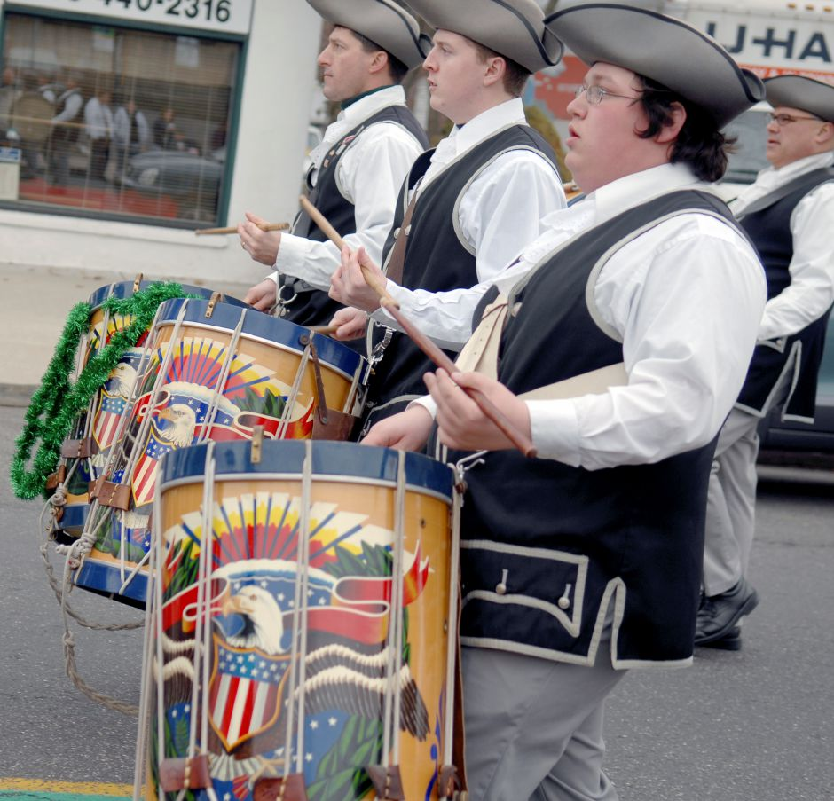 MERIDEN, Connecticut - Saturday, March 15, 2008 - Members of the Connecticut Patriots of Plainville play and march during the 35th Annual Meriden AOH Saint Patrick