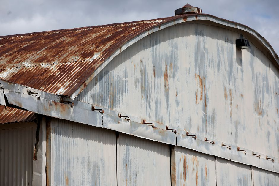 A rusted Quonset hut at Meriden Markham Airport, Wednesday, April 18, 2018. An engineering report showed the Quonset hut is structurally unsound. Dave Zajac, Record-Journal