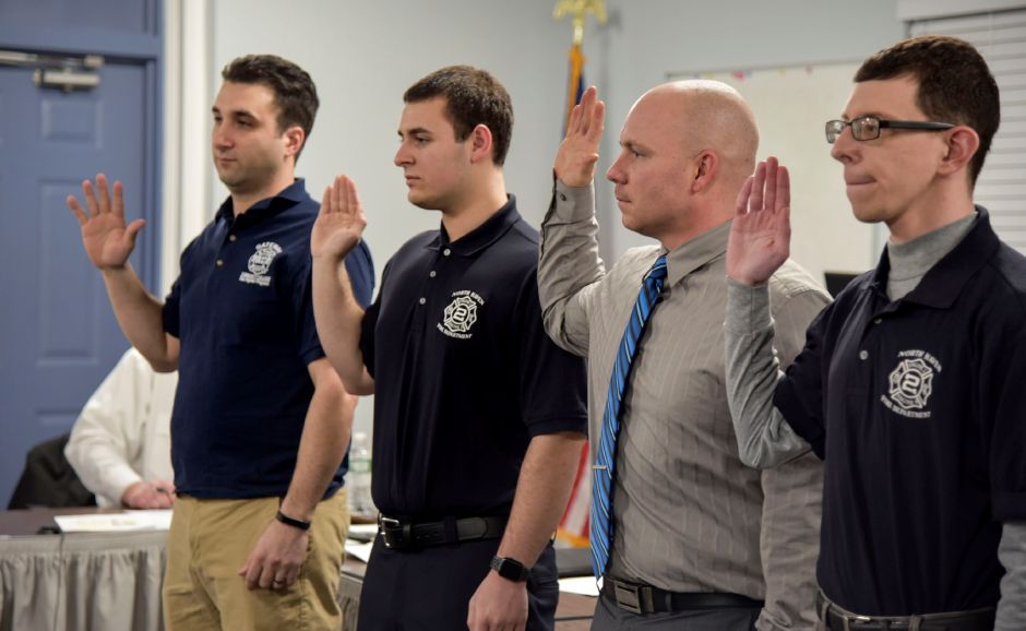 Four volunteer firefighters were sworn in during a recent ceremony at the Co. 4 firehouse on Jan. 29, 2019. From left: Will Ruthfuss, John Pine, Nick Husband, and Keith Pascale. | Bailey Wright, Record-Journal