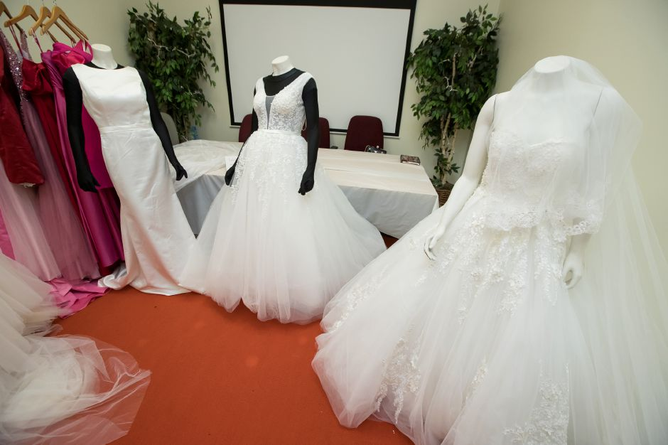 Gowns on display from Jacqueline Bridal Kouture Saturday during the second annual Bridal Expo at the Hubcap in Wallingford February 16, 2019 | Justin Weekes / Special to the Record-Journal