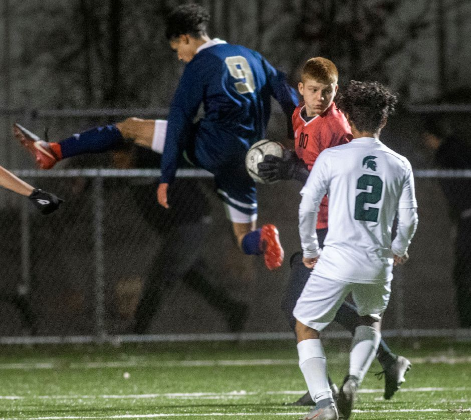 Maloney goalie Devin Juan had nine saves in Wednesday's 3-0 loss to Wilton in the second round of the CIAC Class L boys soccer tournament. |  Aaron Flaum, Record-Jouirnal