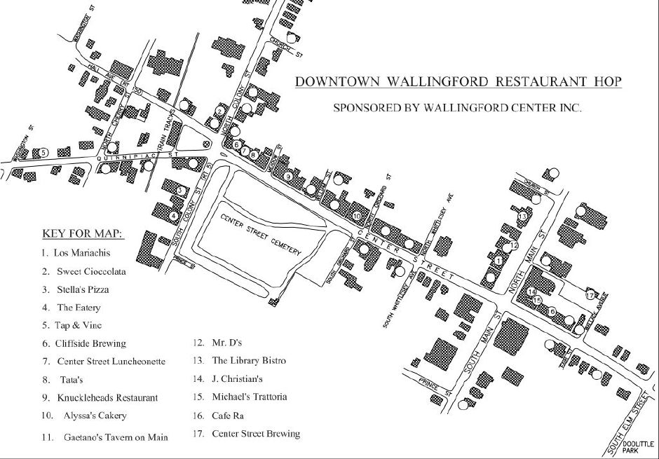 Map of the 7th annual Downtown Wallingford Restaurant Hop, Wed. May 8, 2019. 4 p.m. to 8 p.m. | Courtesy of Wallingford Center Inc.