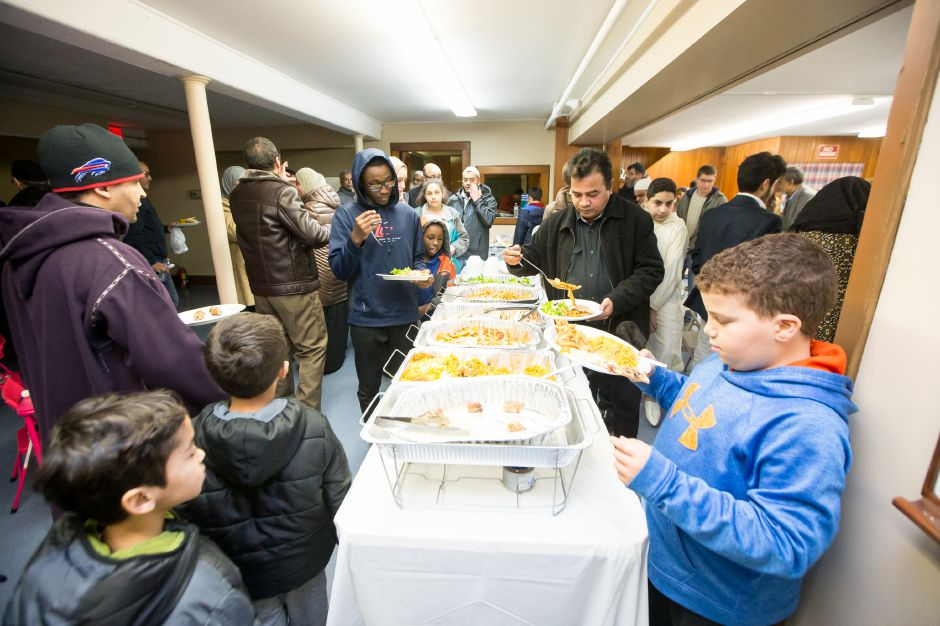 Members and guests were trater to a meal after services in the prayer room Saturday during a community dinner celebrating the opening of the Islamic Center of Wallingford in Wallingford January 19, 2019 | Justin Weekes / Special to the Record-Journal