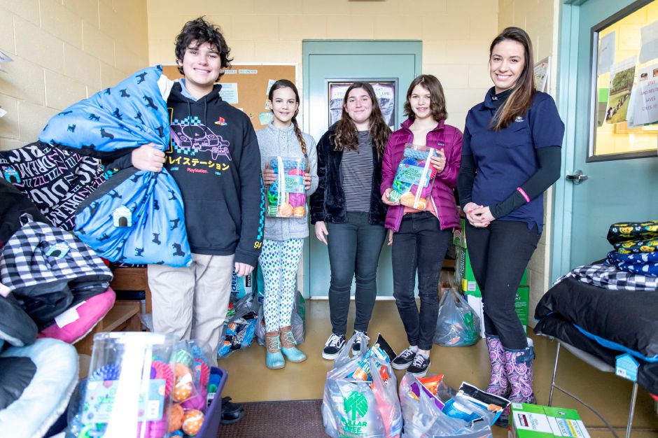 Students at Mooreland Hill School in Berlin delivered over $700 worth of dog beds, toys and food to the Berlin Animal Shelter on Jan. 25, 2019. The students raised the money for their service oriented project with a goal of $50. | Devin Leith-Yessian/Berlin Citizen