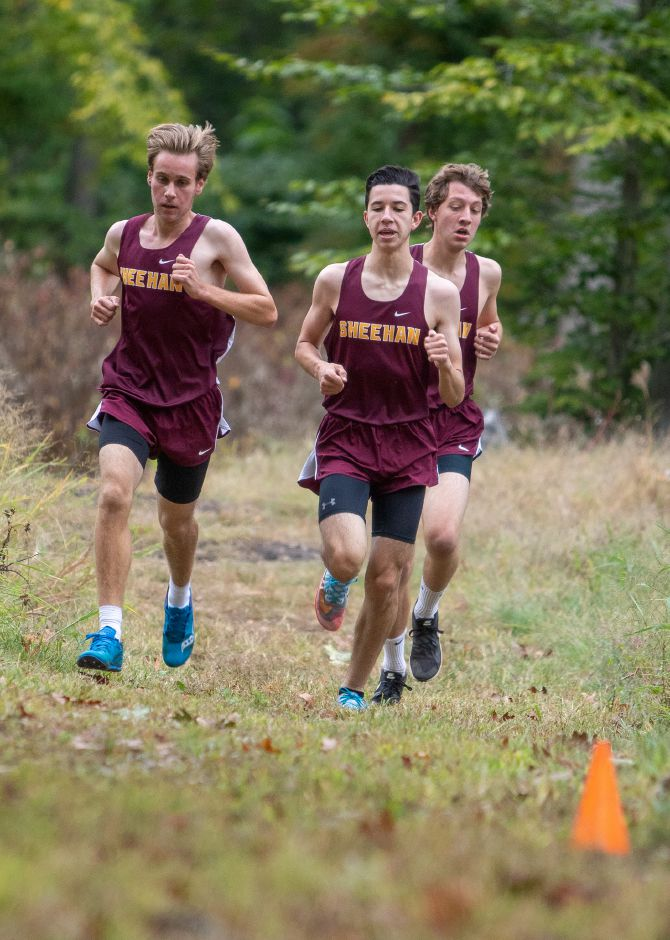 Sheehan teammates Mike Barberino, left, Ethan Venoit, center, and Derrick Arnold finished 1-2-3, in that order, at Tuesday's Wallingford cross country meet at Wharton Brook State Park. | Aaron Flaum, Record-Journal