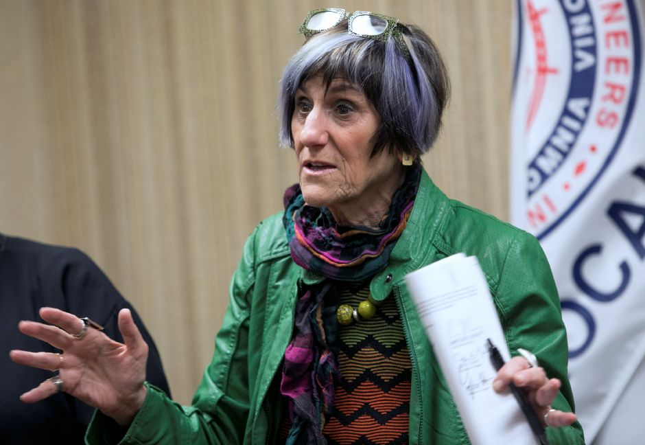 U.S. Congresswoman Rosa DeLauro speaks at the International Union of Operating Engineers (IUOE) Local 478 Training Center on Cheshire Road in Meriden, Friday, April 6, 2018. DeLauro