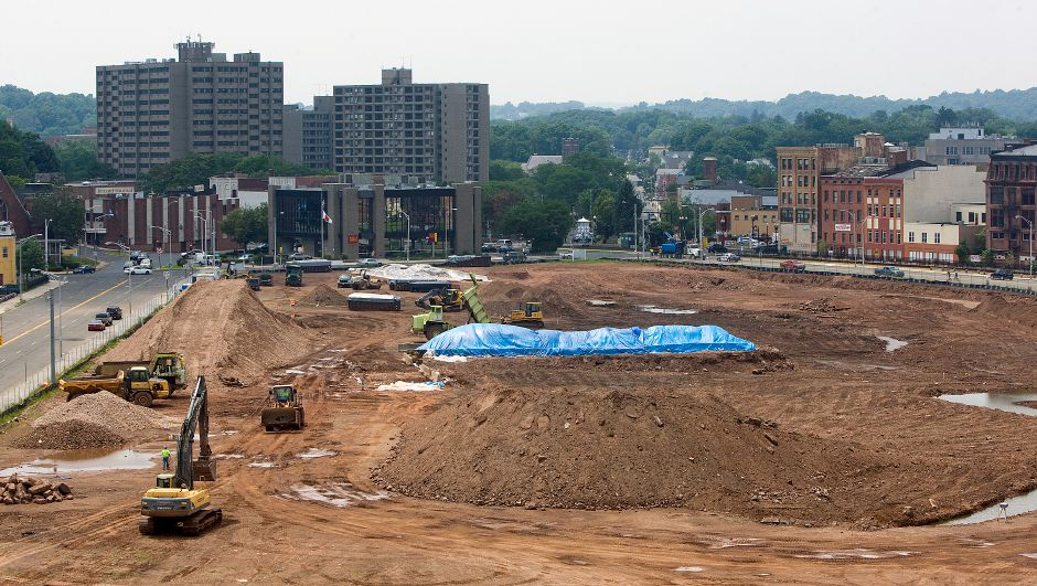 View from the roof of the Mills Memorial Apartments showing LaRosa Construction crews continuing work on the Hub site in downtown Meriden, Tuesday, July 8, 2014. | Dave Zajac / Record-Journal