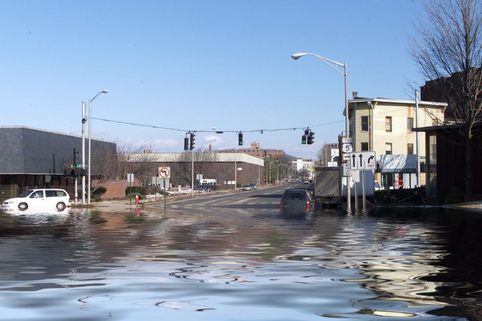 Photo illustration for flooding story, view looking up Pratt St. from Perkins Square, Thurs., Feb. 1.