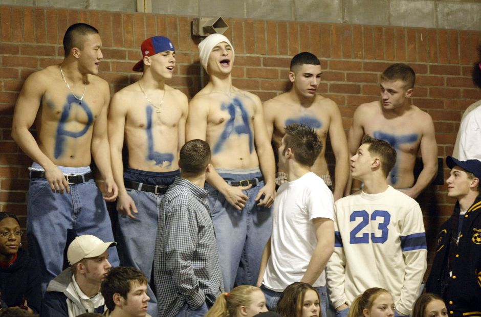 Some of the cooler Platt High fans during their basketball game at Maloney High Friday night, Jan. 24.
