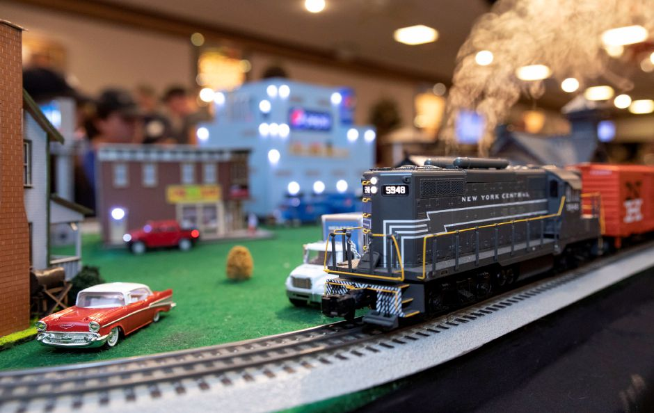 An electric model train at the Classic Shows Model Railroad show at Zandri