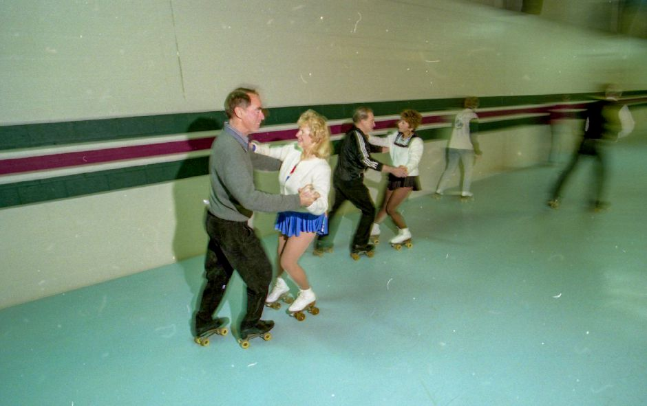 File photo - Customer skate at Wheel World in Wallingford Nov. 30, 1995.