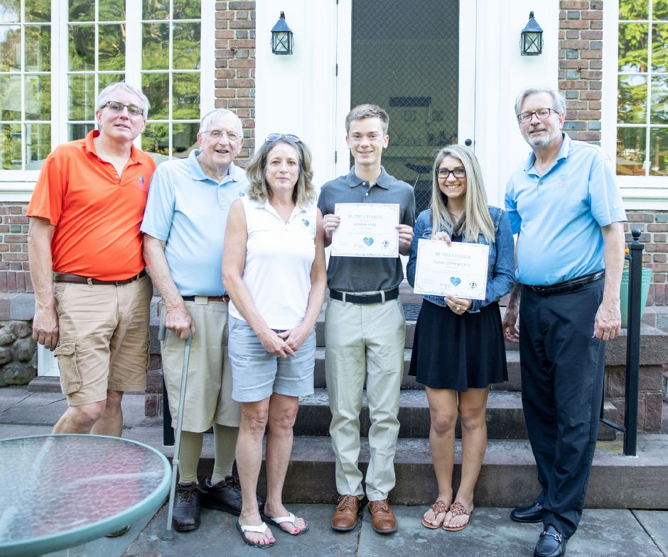 From left, Glenn Petit, William Petit Sr., Johanna Chapman-Petit, Andrew Kane, Alexa Cofrancesco and William Petit Jr. Kane and Cofrancesco were awarded the Be the Change Awards by the Petit Family Foundation at William Petit Jr.