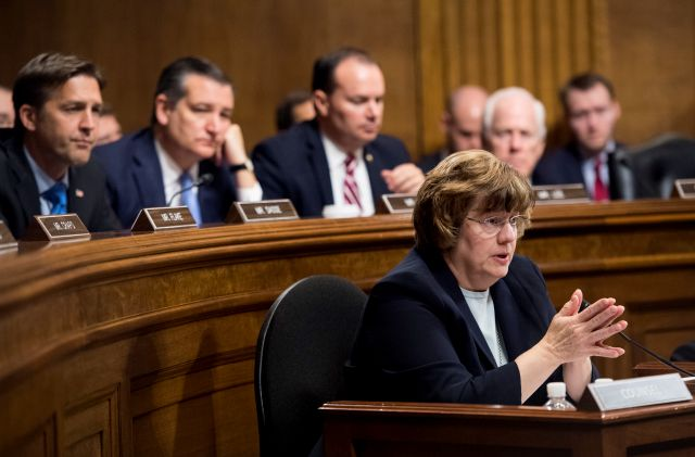 Phoenix prosecutor Rachel Mitchell questions Christine Blasey Ford as Senators, from left, Sen. Ben Sasse, R-Neb., Sen. Ted Cruz, R-Texas, Sen. Mike Lee, R-Utah., and Sen. John Cornyn, R-Texas, listen during the Senate Judiciary Committee hearing, Thursday, Sept. 27, 2018 on Capitol Hill in Washington. (Tom Williams/Pool Image via AP)