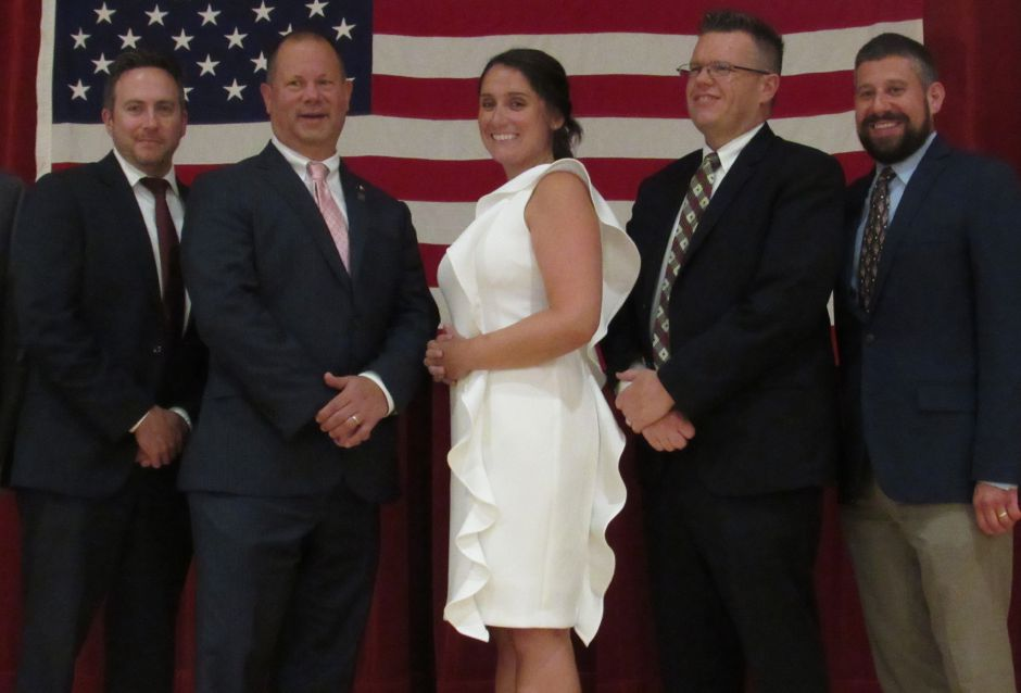 The slate of Republican candidates for Wallingford Town Council, endorsed at the Republican Town Committee caucus at Dag Hammarskjold Middle School, July 17, 2019. From left: Tom Laffin, Craig Fishbein, Christina Tatta, Christopher Shortell, Joseph Marrone III. Absent: Vincent Cervoni. | Lauren Takores