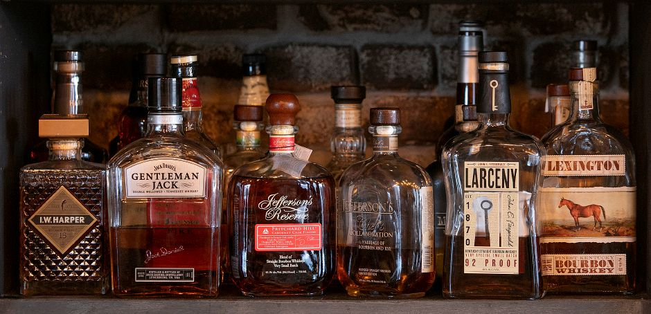 A few of the many whiskey varieties available at Que Whiskey Kitchen, a barbecue restaurant and whiskey bar located at 461 Queen St, Southington, Wed., Mar. 13, 2019. Dave Zajac, Record-Journal