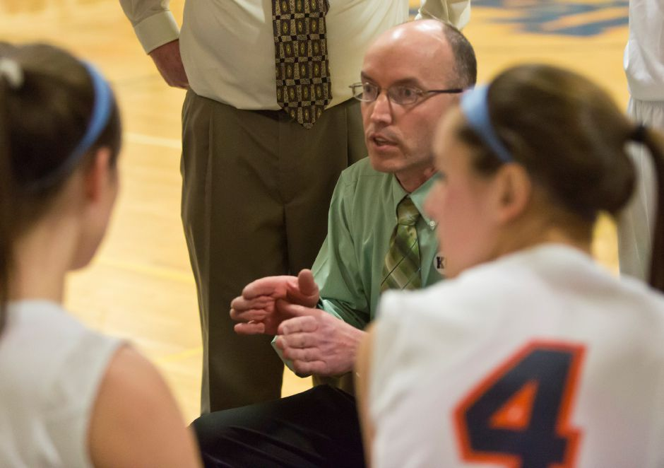 Coach Tom Lipka talks to the team during a timeout in the first half of the basketball game. Lyman Hall hosted Sheehan in the second round of the state Class L girls basketball tournament, March 7, 2014. Lyman Hall won 60-42. | Christopher Zajac / Record-Journal