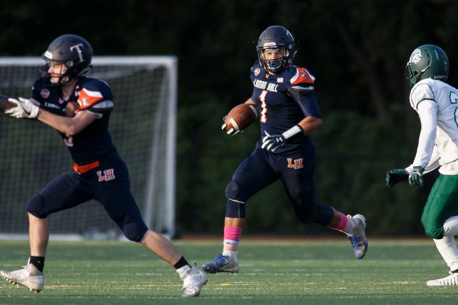 Lyman Hall's Shakespeare Rodriguez had a big night for the Trojans in their season opener on Friday against Jonathan Law, catching 12 passes for 254 yards and three touchdowns. LH lost 50-40 after trailing 30-0 in the first half. | Justin Weekes / Special to the Record-Journal