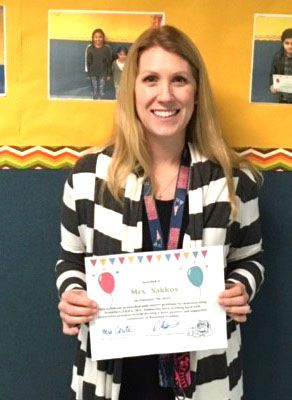 Congratulations to 5th grade teacher, Diana Sakkos, who is the latest Benjamin Franklin C.A.R.E.S. winner. Diana Sakkos demonstrated the attributes of Character and Responsibility by working with many students and staff to strengthen the great community at Benjamin Franklin.