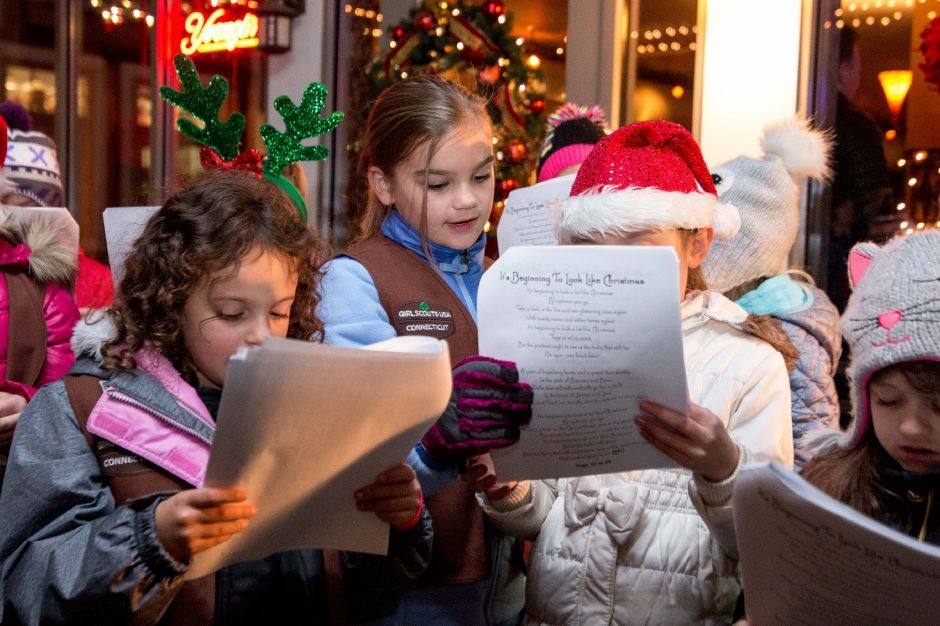 Girl Scouts sing Christmas carols at Zingarella