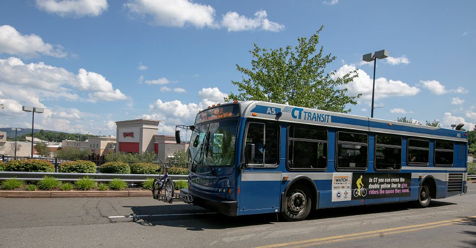 A CTtransit 501 bus to New Britain exits the Westfield Meriden shopping mall in Meriden on Thursday. Dave Zajac, Record-Journal