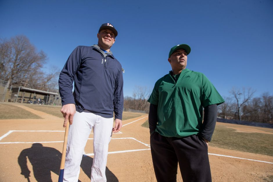 It's a major change in season as former Platt teammates Billy Rich, left, and Ricky Marrero take up the coaching reins from longtime skippers at Lyman Hall and Maloney. Rich replaces Chuck Burghardt at Lyman Hall and Marrero steps in for Howie Hewitt at Maloney. On Tuesday, their teams scrimmaged at Pat Wall Field. Photos by Justin Weekes, special to the Record-Journal