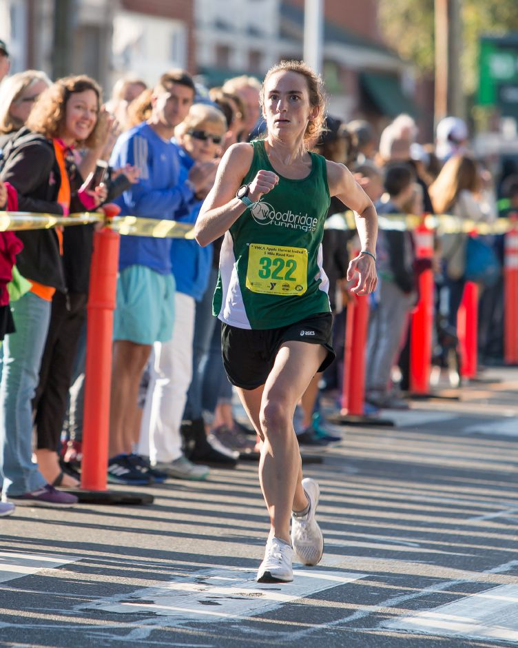 Annmarie Tuxbury of New Hartford finished first in the 5 mile breaking the course record Sunday during the Apple Harvest Southington YMCA 5K and 5 mile road race in Southington September 30, 2018 | Justin Weekes / Special to the Record-Journal