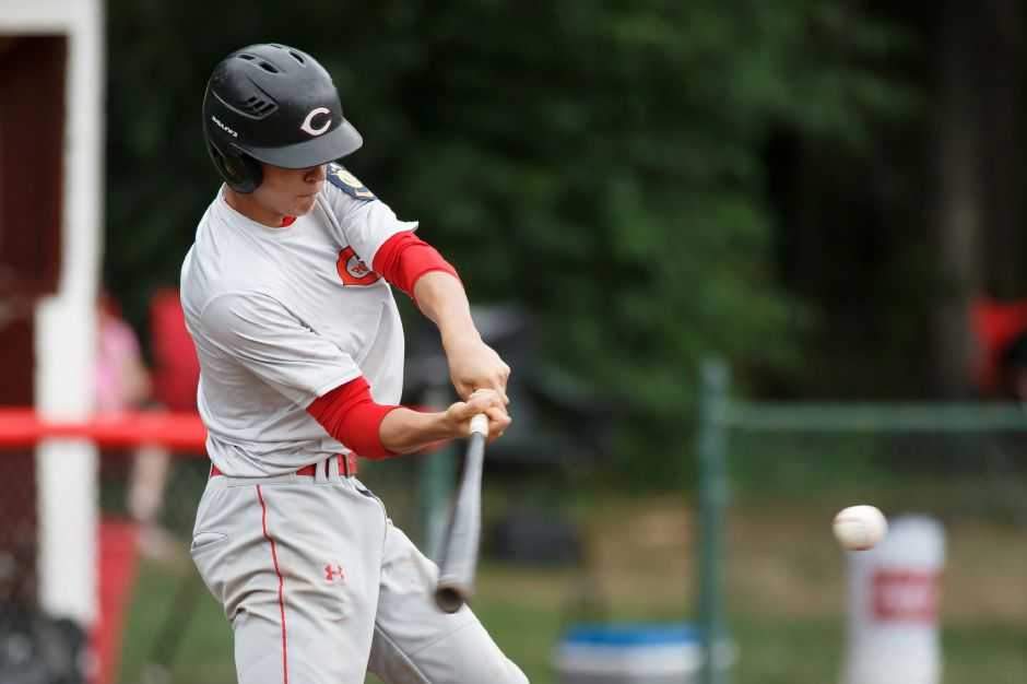Ian Battipaglia doubled home two runs in the bottom of the fifth inning Thursday to put Cheshire up to stay in its 4-3 win over Shelton in the second round of the Class LL state tournament. | Justin Weekes / Special to the Record-Journal