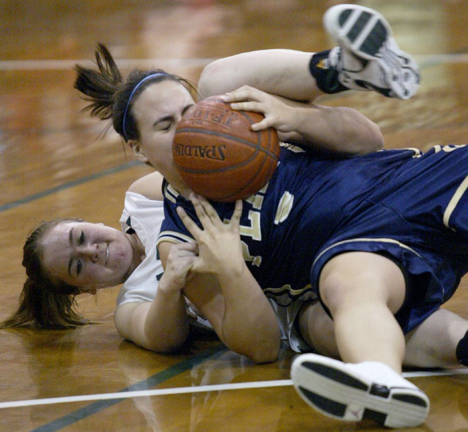 MERIDEN, Connecticut - Wednesday, February 13, 2008 - Fighting for a loose ball, Maloney