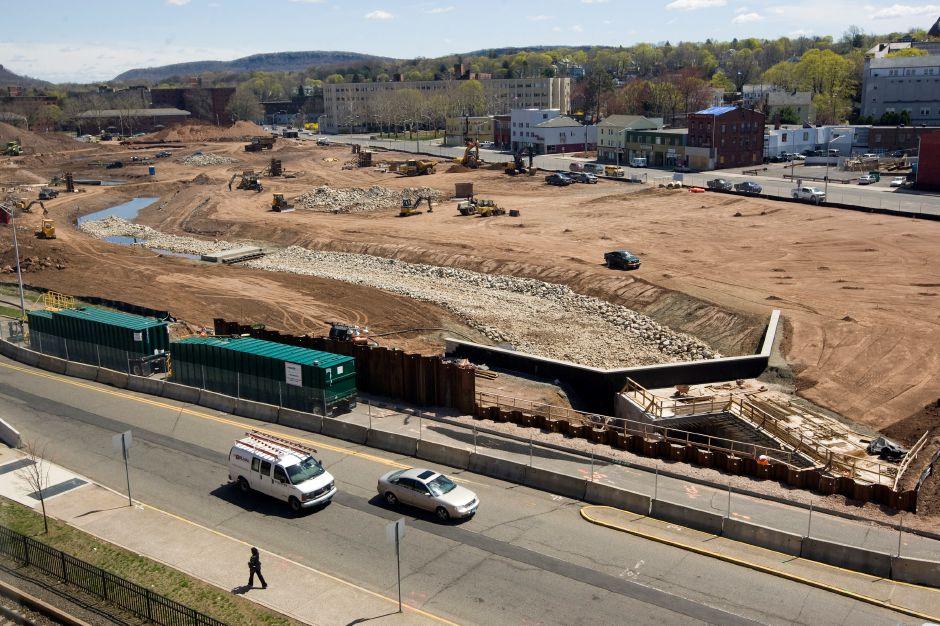 View looking northeast from State St. over the 14-acre Meriden Hub park project in downtown Meriden, Wednesday, April 29, 2015. | Dave Zajac / Record-Journal