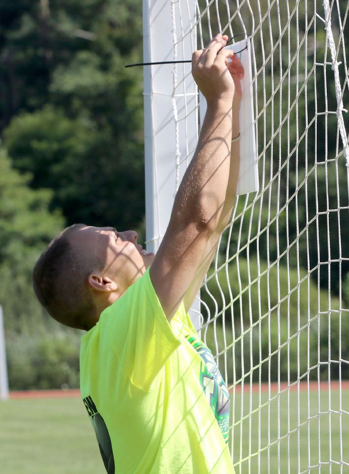 Dave Rodriguez of Wallingford, gets the sign up for Field 3 at Choate Rosemary Hall during preparation for the 35th annual TWIST soccer tournament on Friday August 16, 2019. Aaron Flaum, Record-Journal Staff