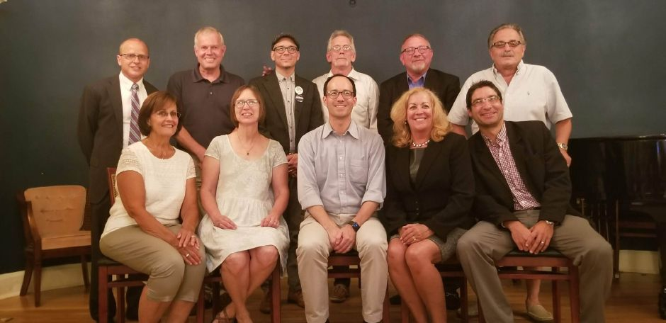 The Wallingford Democratic Town Committee candidates for the Town Council, Board of Education and the mayoral race. DTC members met Wednesday at The Library Bar and Bistro to caucus for the upcoming electionon Wednesday. Jeniece Roman, Record-Journal.