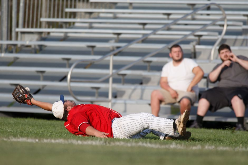 Will Kszywanos of the Record-Journal Expos, seen here making a catch in a Greater Hartford Twilight Baseball League game last season, went 3-for-5 in the opening game of Sunday's sweep of Malloves Jewelers. | Justin Weekes / Special to the Record-Journal