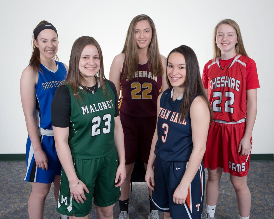 Introducing the 2017-18 All-Record-Journal girls basketball team. In front, left to right, are Maloney