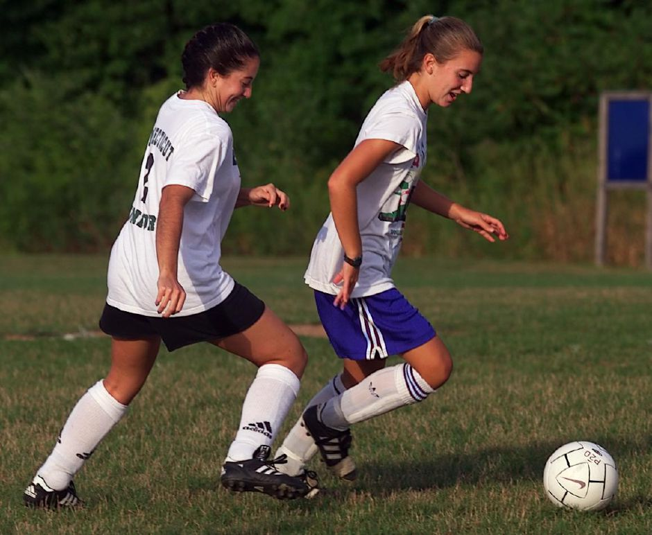 Renee Pires, left, and Megan Kavanaugh, right, practice for TWIST Thurs., Aug. 19, 1999 with their team, the Flames.