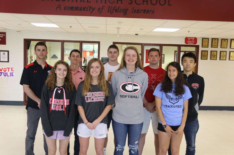 Introducing the Record-Journal Scholar-Athletes at Cheshire High School for the 2019 spring season. The girls, left to right, are Lucy Pellegrino, Mikayla Crowley, Mia Juodaitis and Amanda Addesso. The boys in back, left to right, are Ryan Cyr, Mark Dellostritto, Mike Papa, Jay Halterman and Berkley Fang. Nate Pisani and Jenny Wang, the tennis Scholar-Athletes, are not pictured. They were playing in the state tournament on photo day.