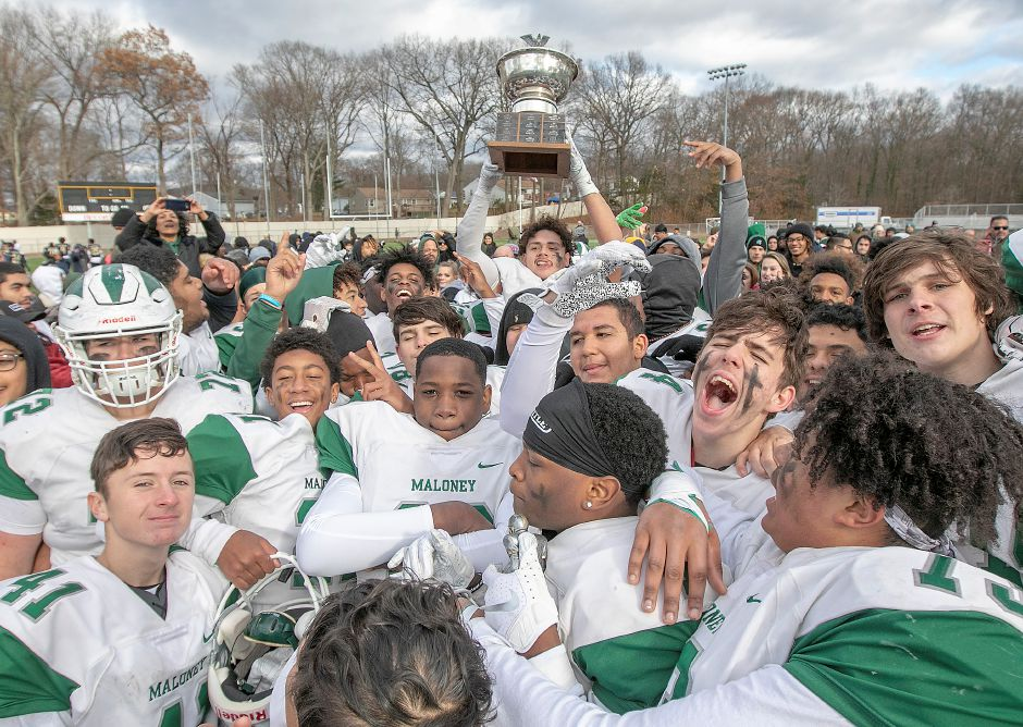 The Maloney Spartans can celebrate their Stoddard Bowl victory over Platt for only so long. They'll be hosting Berlin in the Class L state quarterfinals on Tuesday night at Falcon Field. | Dave Zajac, Record-Journal