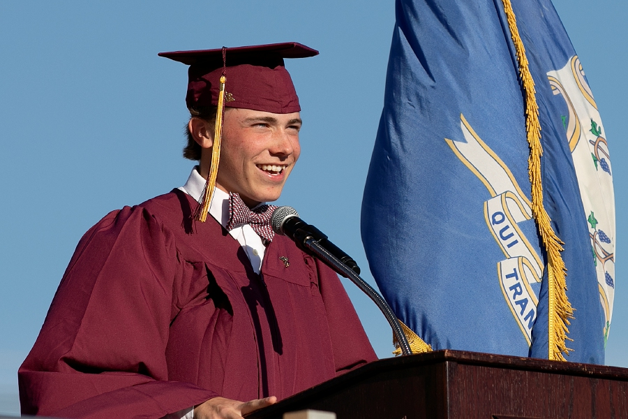 Class of 2019 president Caden Cloutier speaks during graduation ceremonies at Sheehan High School, Wed., June 12, 2019. Dave Zajac, Record-Journal
